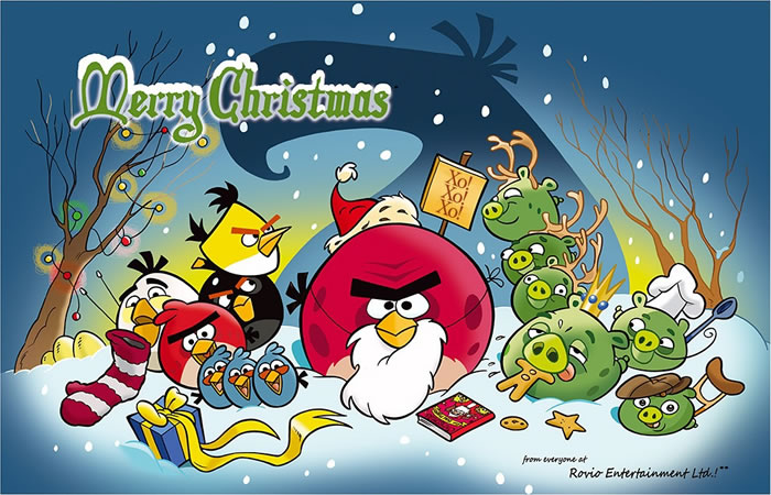 Angry Birds Merry Christmas Wallpaper