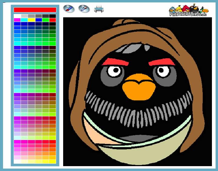 Jogo Desenhos Para Colorir Angry Birds Star Wars No Jogos: Angry Birds Star Wars Obi-Wan Kenobi Coloring Game